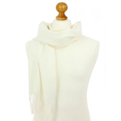 3694818fc585 Echarpe blanche luxe unie en laine d Australie, 37x180cm TONY ET PAUL