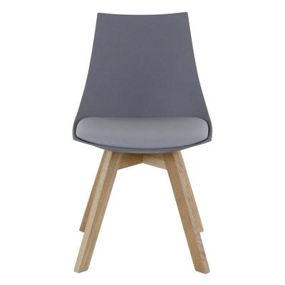 lot de 2 chaises grise et pitement chne kim lot de 2 chaises grise et pitement - Chaise En Chene