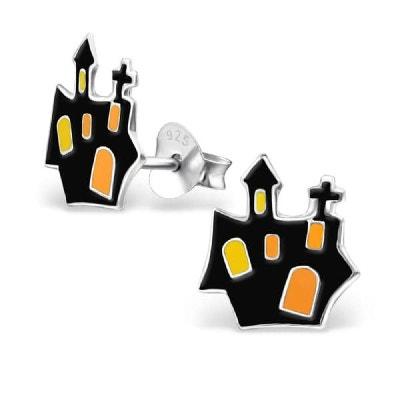 Boucles d'oreilles Manoir Château Hanté Halloween Noir Orange Jaune Argent 925 Boucles d'oreilles Manoir Château Hanté Halloween Noir Orange Jaune Argent 925 SO CHIC BIJOUX
