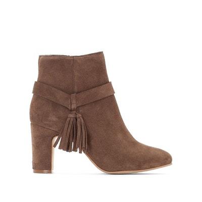 Boots en cuir talon haut détail pompon Boots en cuir talon haut détail  pompon LA REDOUTE 8dc732eb15c8