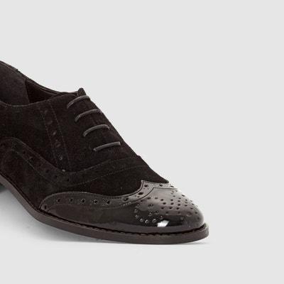 Derbys aus Leder-Materialmix mit geblümter Kappe La Redoute Collections