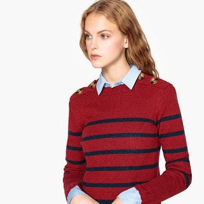 Sweter z jagnięcej wełny, okrągły dekolt zapinany na guziki, z paskami Sweter z jagnięcej wełny, okrągły dekolt zapinany na guziki, z paskami La Redoute Collections