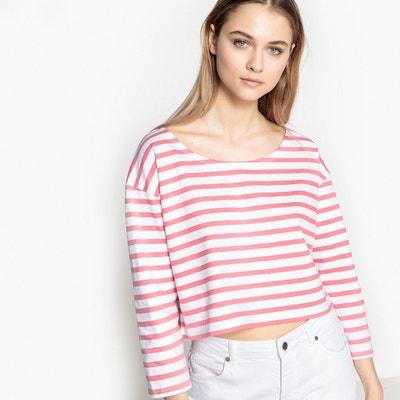 Kurzes Shirt mit weitem, rundem Ausschnitt und 3/4-Ärmeln Kurzes Shirt mit weitem, rundem Ausschnitt und 3/4-Ärmeln La Redoute Collections