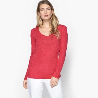 Sweter z dekoltem w serek, głównie z bawełny, fantazyjna dzianina Sweter z dekoltem w serek, głównie z bawełny, fantazyjna dzianina ANNE WEYBURN