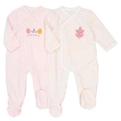 Set van 2 fluwelen geboorte-pyjama's Préma Set van 2 fluwelen geboorte-pyjama's Préma La Redoute Collections