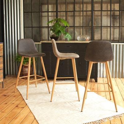 Chaise de bar scandinave en microfibre gris clair, pieds compas  |  MIA5 Chaise de bar scandinave en microfibre gris clair, pieds compas  |  MIA5 MADE IN MEUBLES