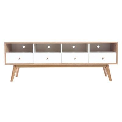 meuble tv scandinave bois blanc helia miliboo - Meubles Scandinaves