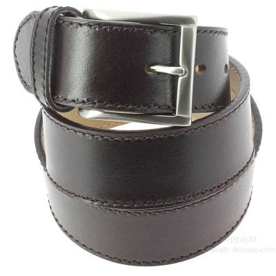cf115b8de675 Ceinture cuir, pour Jeans, bords épais, marron ROBERT CHARLES
