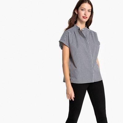 Chemise à carreaux, col mao, pur coton Chemise à carreaux, col mao, 6dff0861a304