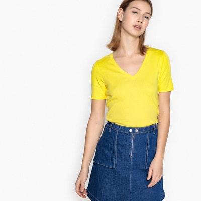 Plain Short-Sleeved V-Neck T-Shirt BENETTON