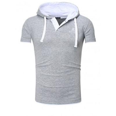 27fcb19d16b T-shirt Capuche Akito Tanaka Polo Hoody Gris Blanc T-shirt Capuche Akito  Tanaka