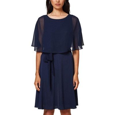 Voile-Kleid mit 3/4-Ärmeln mit Bindegürtel Voile-Kleid mit 3/4-Ärmeln mit Bindegürtel ESPRIT