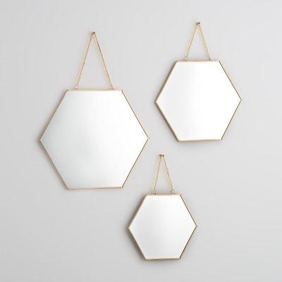 Espejos hexagonales dorados, NÉO (lote de 3) Espejos hexagonales dorados, NÉO (lote de 3) La Redoute Interieurs