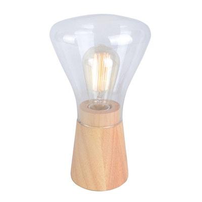 Lampe ampoule GINGKO bois naturel de pin et verre Lampe ampoule GINGKO bois naturel de pin et verre KERIA