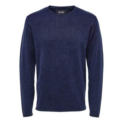 Пуловер с круглым вырезом из тонкого трикотажа Пуловер с круглым вырезом из тонкого трикотажа ONLY & SONS