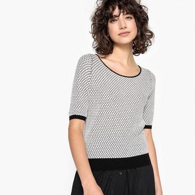 Пуловер двухцветный с глубоким круглым вырезом из вафельного трикотажа Пуловер двухцветный с глубоким круглым вырезом из вафельного трикотажа La Redoute Collections