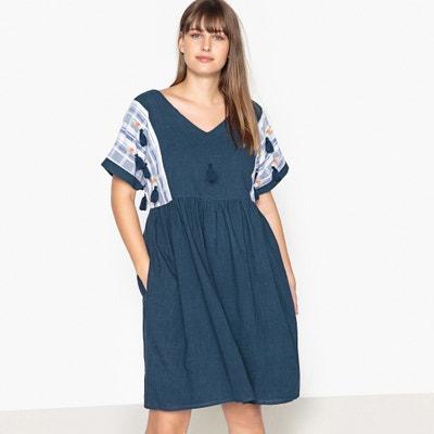 Wijduitlopende korte effen jurk met korte mouwen CASTALUNA