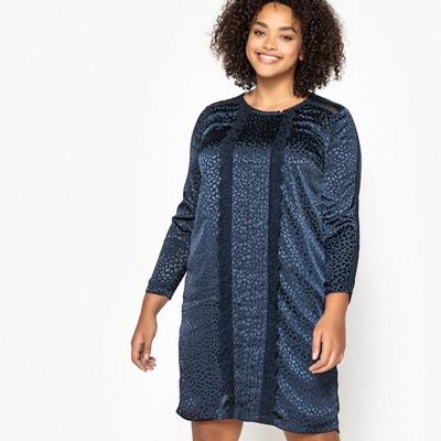 41e2b22d99d97 Robe droite jacquard, détails dentelle, mi-longue Robe droite jacquard,  détails dentelle