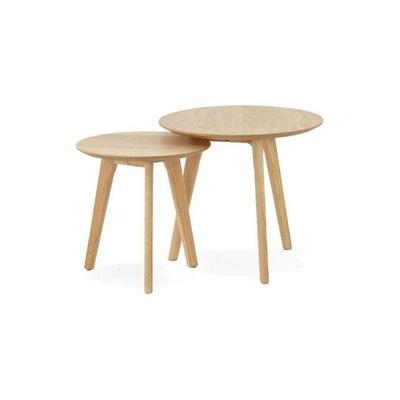 set de 2 tables gigognes bois marron berga declikdeco - Table Gigogne Vintage