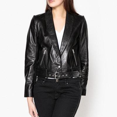 Leak Leather Jacket with Metal Buckle Belt BA&SH