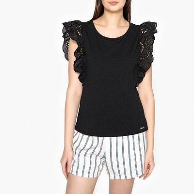 T-Shirt with Broderie Anglaise Ruffles LIU JO