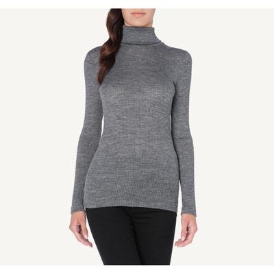 10d4dfb81b10a T-Shirt tube m. longues laine et soie col montant T-Shirt tube
