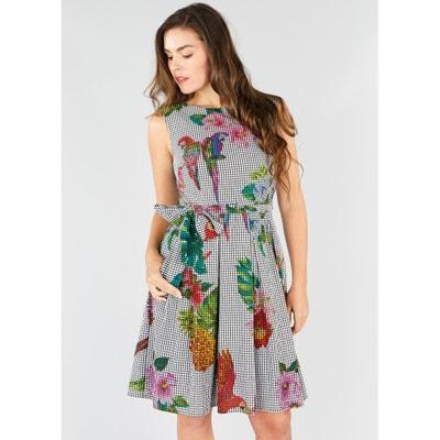 Ausgestelltes Kleid mit Tropical-Print, ohne Ärmel Ausgestelltes Kleid mit Tropical-Print, ohne Ärmel RENE DERHY