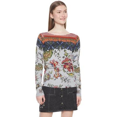 Sweter w kwiecisty wzór z dekoltem w łódkę Sweter w kwiecisty wzór z dekoltem w łódkę DESIGUAL