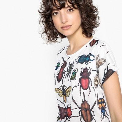 T-shirt de gola redonda, mangas curtas, estampado escaravelhos La Redoute Collections