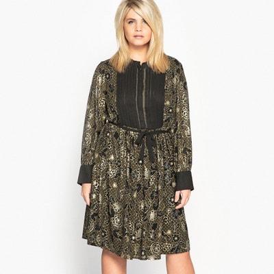 Bedrukte halflange rechte jurk met bloemenprint CASTALUNA