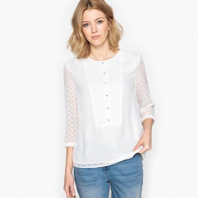 Bluzka z tkaniny plumetis z rękawami 3/4 Bluzka z tkaniny plumetis z rękawami 3/4 ANNE WEYBURN