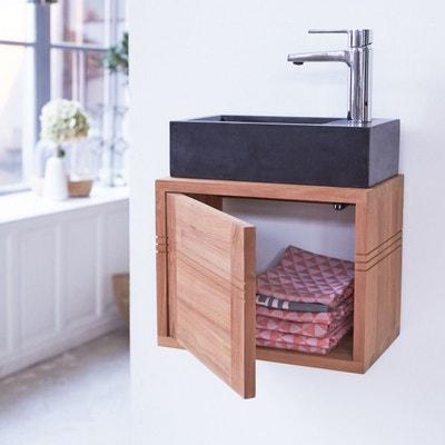 meuble salle de bain lave main suspendu en bois de teck 38 basic tikamoon