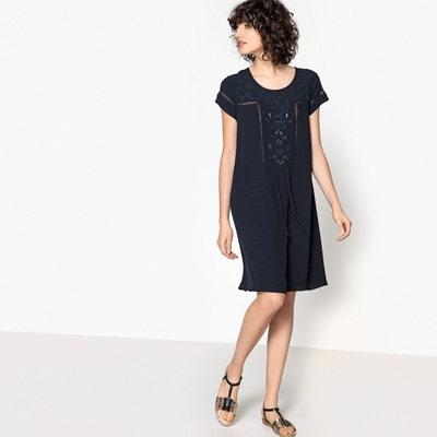 Plain Short-Sleeved Mini Shift Dress SUD EXPRESS