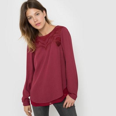Blusa de manga larga, plastrón bordado Blusa de manga larga, plastrón bordado SEE U SOON