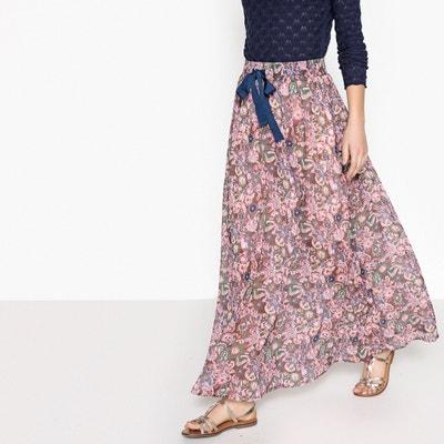 Long Floral Print Skater Skirt SEE U SOON