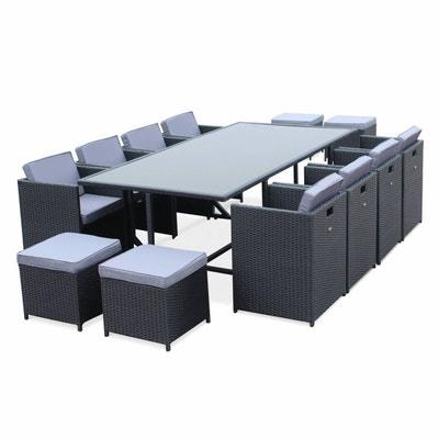 Salon De Jardin Vasto Noir Table En Rsine Tresse 8 12 Places Fauteuils Encastrables
