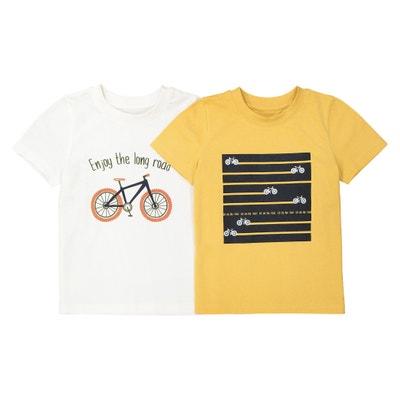 Camiseta estampada con cuello redondo, 3-12 años (lote de 2) Camiseta estampada con cuello redondo, 3-12 años (lote de 2) La Redoute Collections