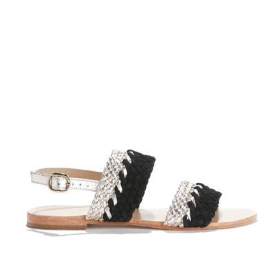 Sandálias bicolores, rasas e entrançadas,  ANGLET Sandálias bicolores, rasas e entrançadas,  ANGLET PETITE MENDIGOTE