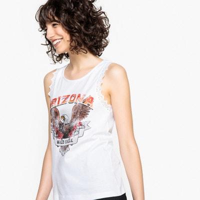 Camiseta sin magnas con cuello redondo y macramé en las sisas Camiseta sin magnas con cuello redondo y macramé en las sisas La Redoute Collections