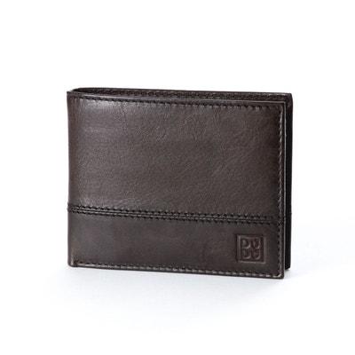 Portefeuille pour homme en cuir véritable avec porte-monnaie et fentes pour cartes de crédit et carte d'identité DUDU