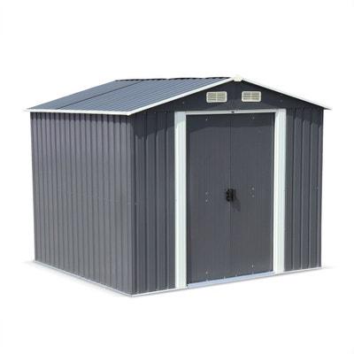 Abri de jardin en métal - ARTOIS 5m² anthracite - Cabane à outils avec deux grandes portes coulissantes, kit de fixation sol ALICE S GARDEN