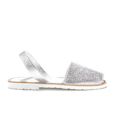 Platte sandalen in koeleer AVARCA FIESTA BLANCO MINORQUINES