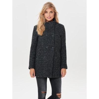 Manteau laine long femme noir