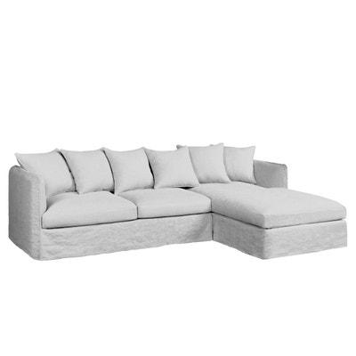 Canapé d'angle fixe Neo Chiquito, lin froissé AM.PM