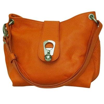 Sac à main cuir orange Noé CHAPEAU-TENDANCE