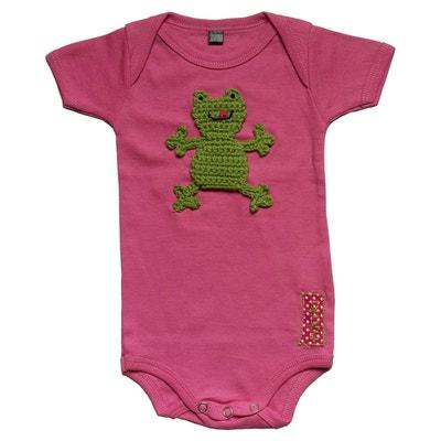 Body bébé en coton customisé avec grenouille brodée main RIKIKI KIDS