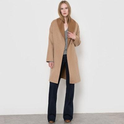 Manteau ceinturé bicolore, 70% laine Manteau ceinturé bicolore, 70% laine LA REDOUTE COLLECTIONS