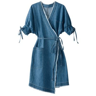 Robe portefeuille en denim rayé Robe portefeuille en denim rayé La Redoute Collections