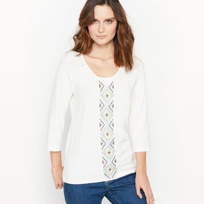 T-Shirt, Material-Mix, bestickt ANNE WEYBURN