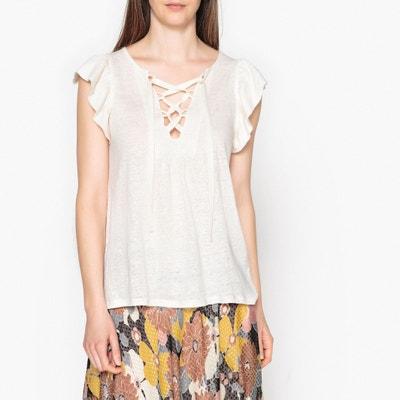 Irtiz Linen T-Shirt with Laced V-Neck BA&SH